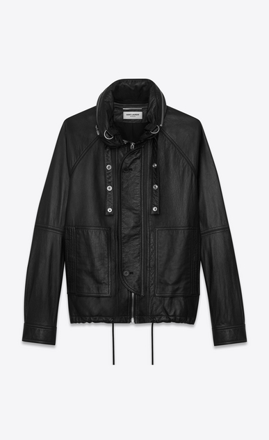 SAINT LAURENT Leather jacket U slouchy parka in black leather a_V4