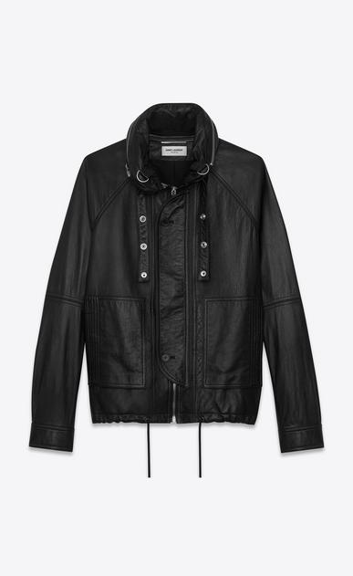 SAINT LAURENT Leather jacket U slouchy parka in black leather v4