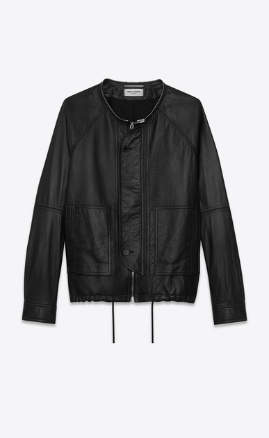 SAINT LAURENT Leather jacket U slouchy parka in black leather b_V4