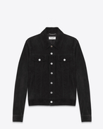 SAINT LAURENT Leather jacket U Black Suede Jean Jacket f