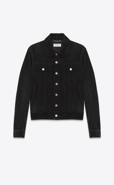 SAINT LAURENT Leather jacket Man Black Suede Jean Jacket a_V4