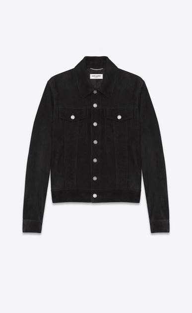 SAINT LAURENT Leather jacket U Black Suede Jean Jacket v4