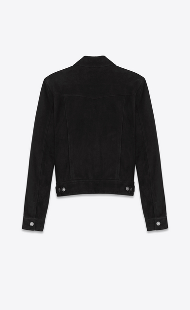 SAINT LAURENT Leather jacket Man Black Suede Jean Jacket b_V4