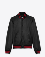 SAINT LAURENT Leather jacket U Black and Red TEDDY Leather Baseball Jacket f