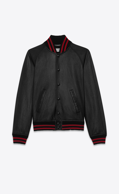 SAINT LAURENT Leather jacket Man Black and Red TEDDY Leather Baseball Jacket a_V4