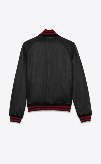 SAINT LAURENT Leather jacket Man Black and Red TEDDY Leather Baseball Jacket b_V4