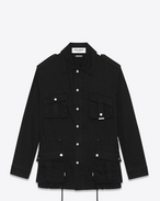 SAINT LAURENT Casual Jackets U military parka in black cotton gabardine f