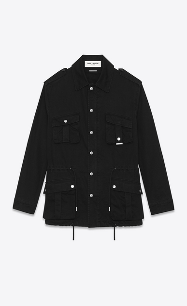 SAINT LAURENT Casual Jackets U military parka in black cotton gabardine a_V4