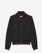SAINT LAURENT Casual Jackets U teddy jacket in black and red cotton f