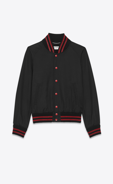 SAINT LAURENT Casual Jackets U teddy jacket in black and red cotton a_V4