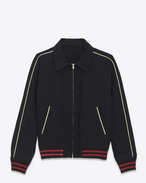 SAINT LAURENT Casual Jackets U teddy lightweight baseball jacket in black wool f