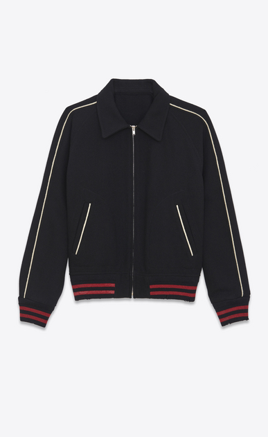 SAINT LAURENT Casual Jackets Man teddy lightweight baseball jacket in black wool a_V4