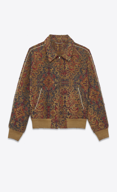 SAINT LAURENT Casual Jackets U marrakech teddy baseball jacket in saffron red woven fabric a_V4