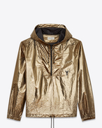 SAINT LAURENT Casual Jackets U hooded lightweight anorak in metallic bronze nylon f