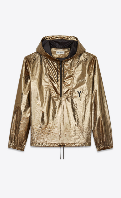 SAINT LAURENT Casual Jackets U hooded lightweight anorak in metallic bronze nylon a_V4