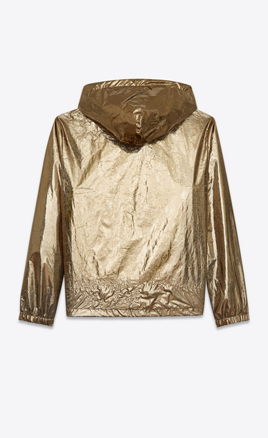 SAINT LAURENT Casual Jackets U hooded lightweight anorak in metallic bronze nylon b_V4