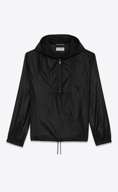 SAINT LAURENT Casual Jackets Man hooded lightweight anorak in black nylon a_V4