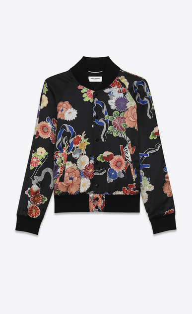 "SAINT LAURENT Casual Jackets U teddy lightweight ""love"" jacket in multicolor viscose a_V4"