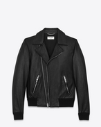 SAINT LAURENT Leather jacket U banded motorcycle jacket in black leather f