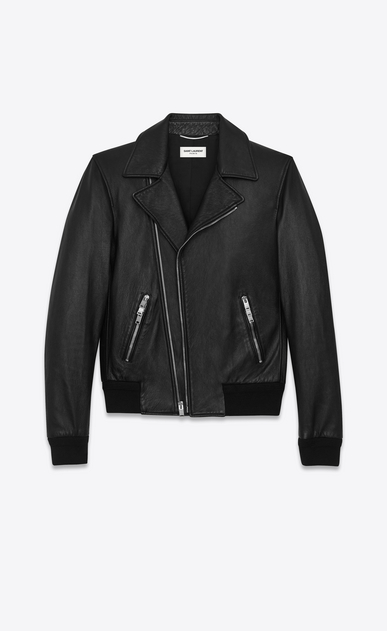 SAINT LAURENT Leather jacket U banded motorcycle jacket in black leather a_V4