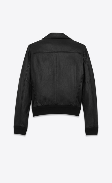 SAINT LAURENT Leather jacket U banded motorcycle jacket in black leather b_V4