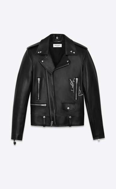 SAINT LAURENT Leather jacket U classic ysl motorcycle jacket in black leather a_V4