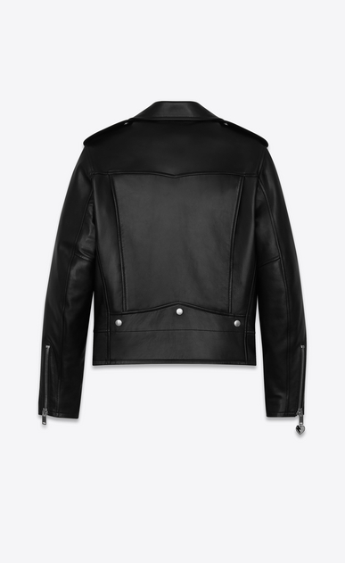 SAINT LAURENT Leather jacket U classic ysl motorcycle jacket in black leather b_V4
