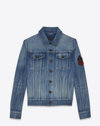SAINT LAURENT Giacche Casual U Giacca di jeans blu Original Washed Shadow con patch YSL Military f