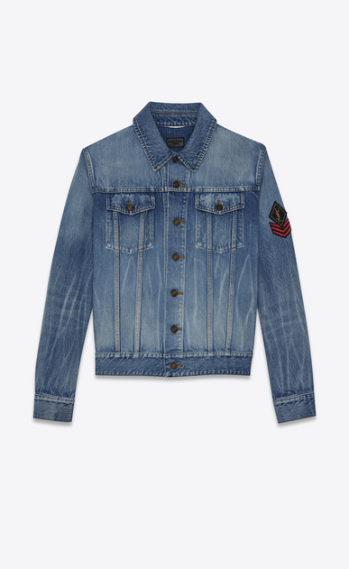 SAINT LAURENT Casual Jackets Man original shadow ysl military patch jean jacket in washed blue denim a_V4