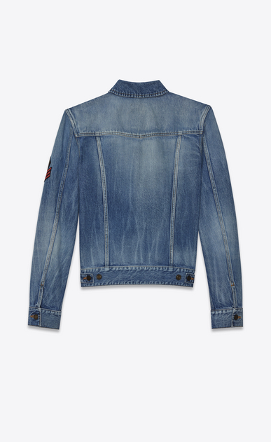 SAINT LAURENT Casual Jackets Man original shadow ysl military patch jean jacket in washed blue denim b_V4