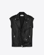SAINT LAURENT Leather jacket U sleeveless motorcycle jacket in black washed leather f