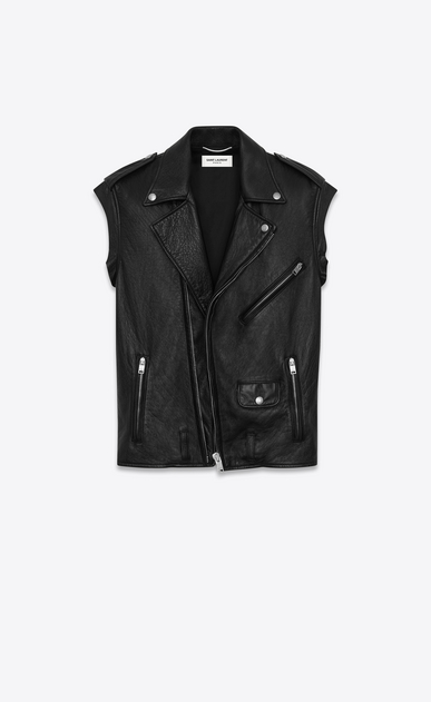 SAINT LAURENT Leather jacket U sleeveless motorcycle jacket in black washed leather a_V4