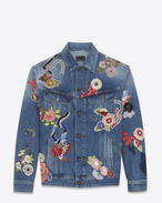 "SAINT LAURENT Casual Jackets U Original Blue ""LOVE"" Embroidery Jean Jacket f"