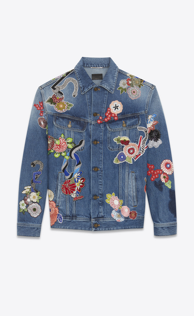 "SAINT LAURENT Casual Jackets U ""love"" embroidery jean jacket in original blue denim a_V4"