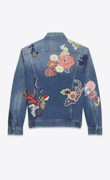 "SAINT LAURENT Casual Jackets U ""love"" embroidery jean jacket in original blue denim b_V4"