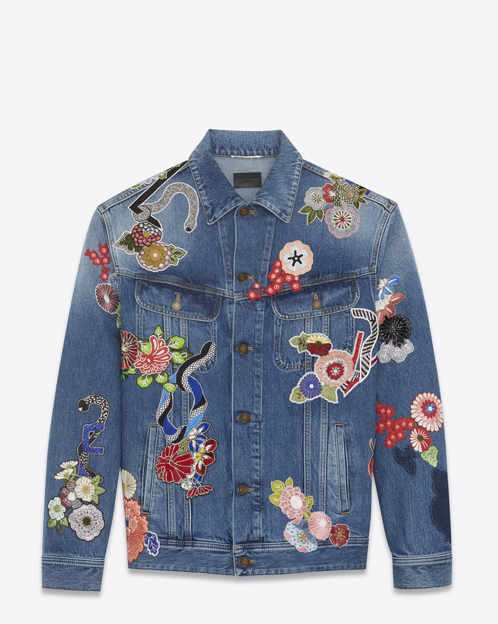 Saint Laurent Original Blue QuotLOVEquot Embroidery Jean Jacket