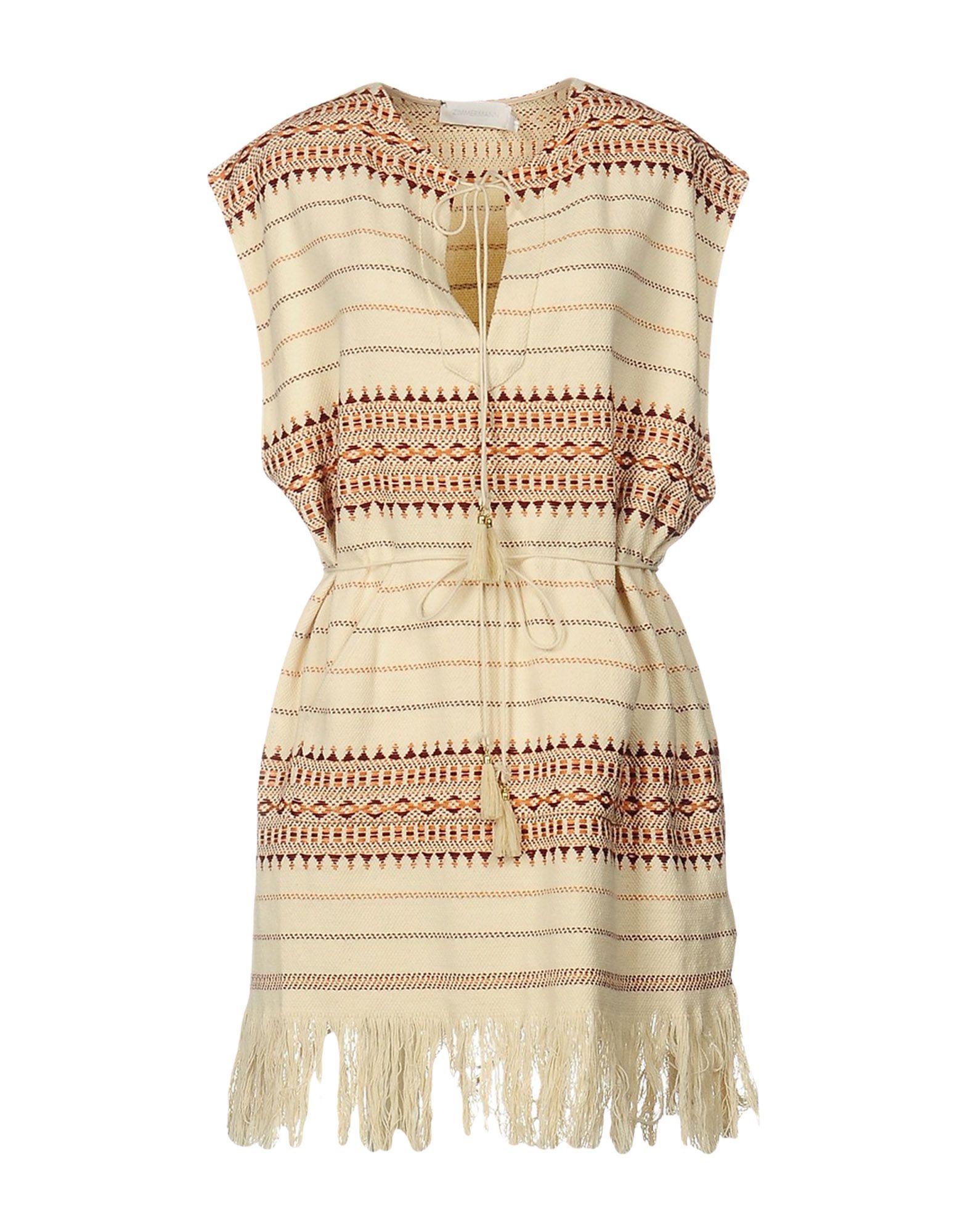 ZIMMERMANN Short dresses. plain weave, ethnic design, round collar, sleeveless, tassels, single pocket, unlined, no fastening, dress. 100% Cotton