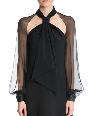 LANVIN CHIFFON AND CREPE DE CHINE DRESS Dress D a