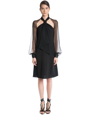 LANVIN CHIFFON AND CREPE DE CHINE DRESS Dress D f