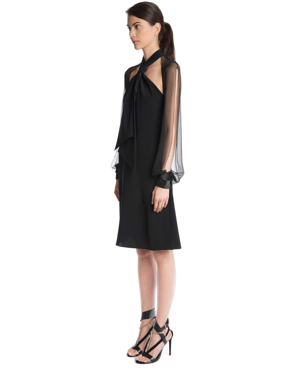 CHIFFON AND CREPE DE CHINE DRESS  - Lanvin