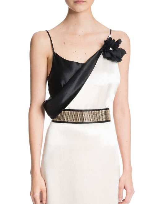 lanvin long mirrored satin dress women