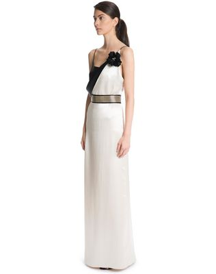 LANVIN LONG MIRRORED SATIN DRESS Long dress D d