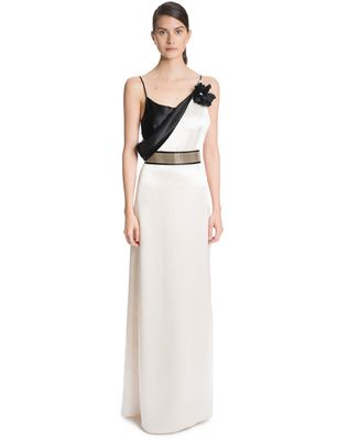 LANVIN LONG MIRRORED SATIN DRESS Long dress D f