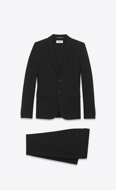 SAINT LAURENT Suits Man classic suit in black gabardine virgin wool a_V4