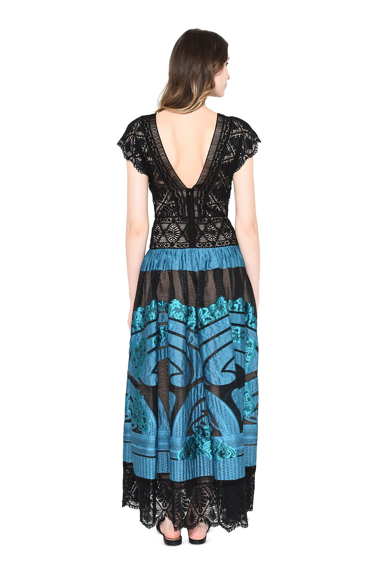 ALBERTA FERRETTI EVENING D PAVO REAL DRESS r