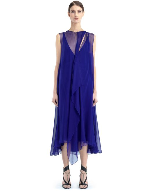 lanvin long chiffon dress women