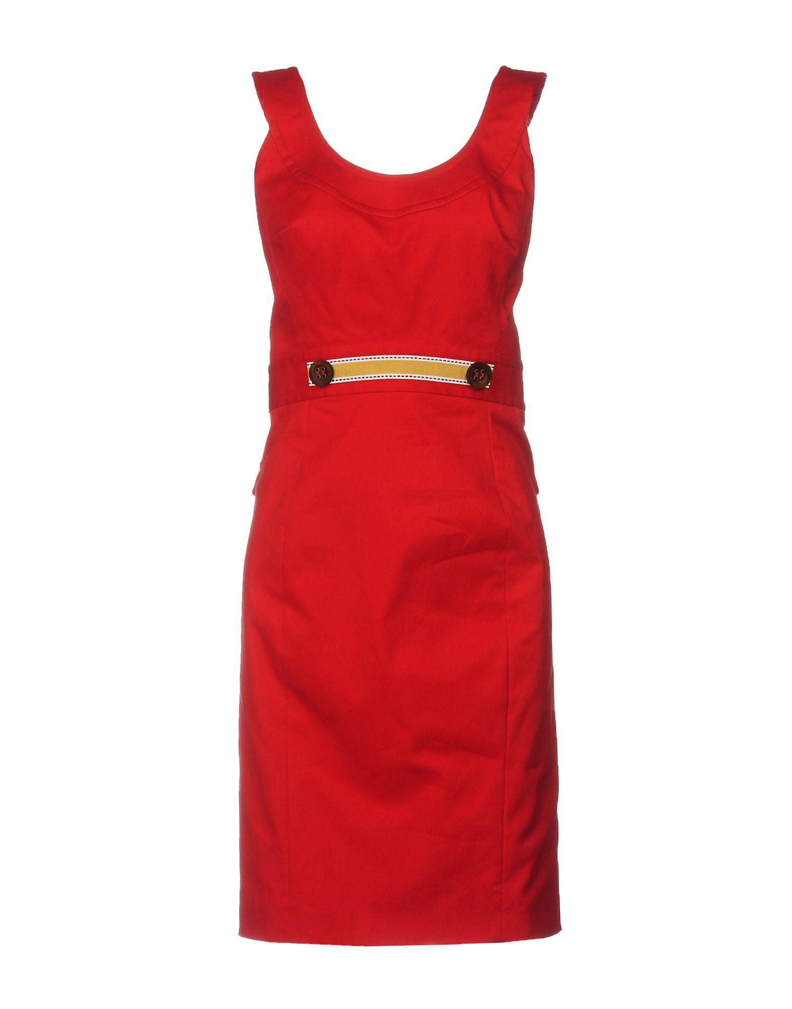 Платье до колена  Красный цвета