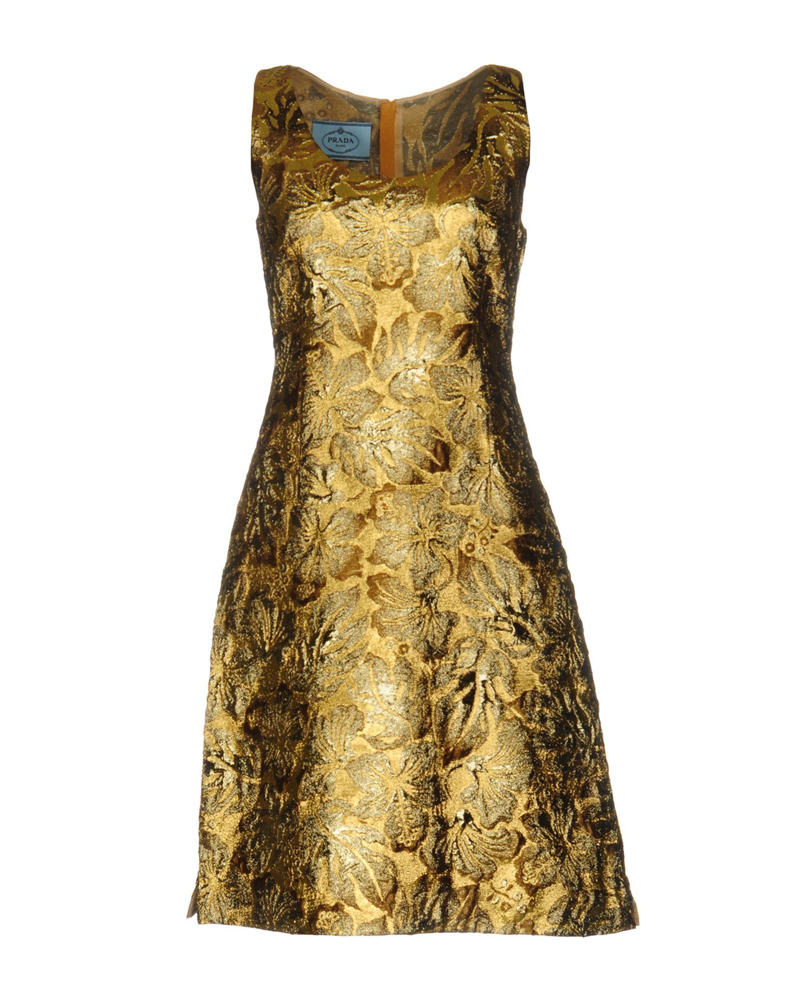 PRADA Damen Kurzes Kleid Farbe Gold Größe 3