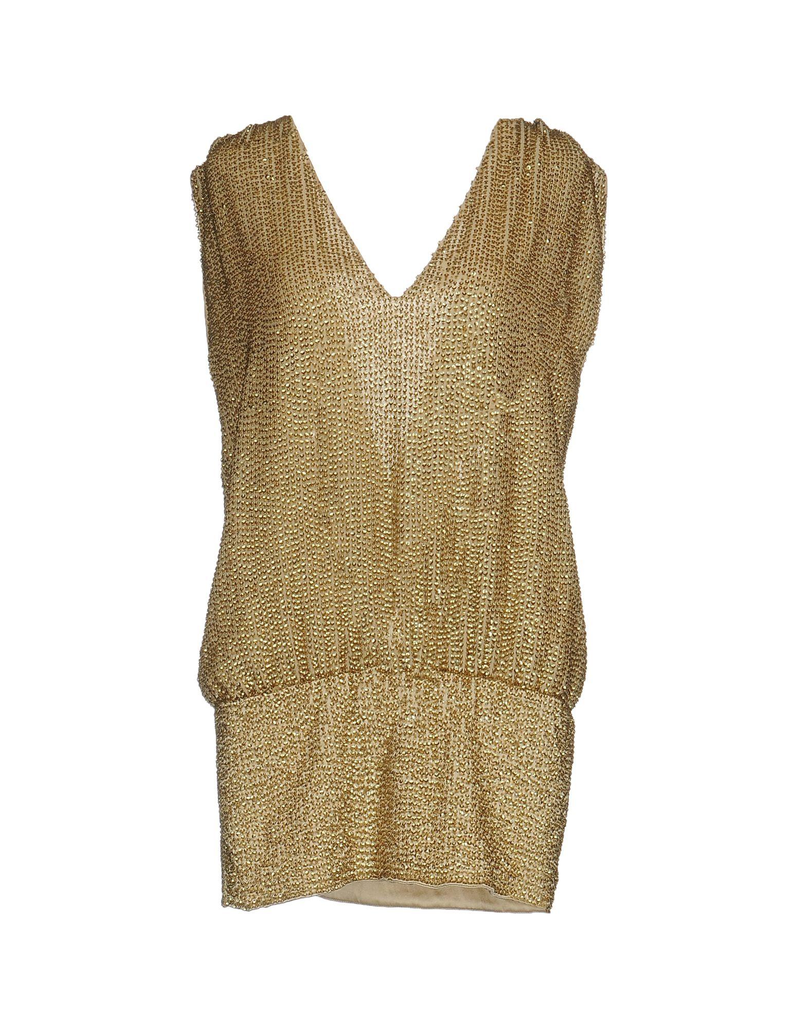 PINKO Damen Kurzes Kleid Farbe Gold Größe 4