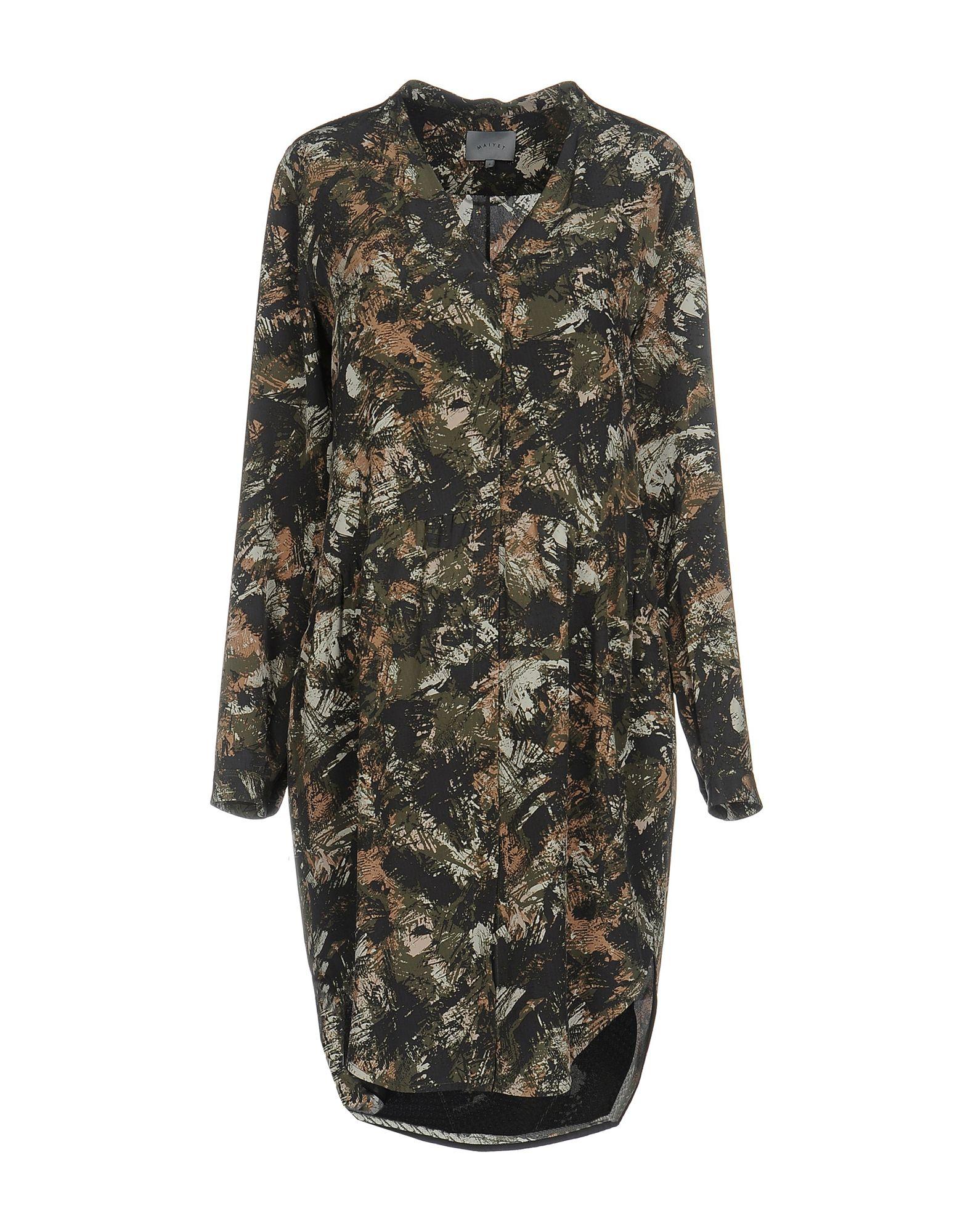 《送料無料》MAIYET レディース ミニワンピース&ドレス ミリタリーグリーン 4 シルク 100%
